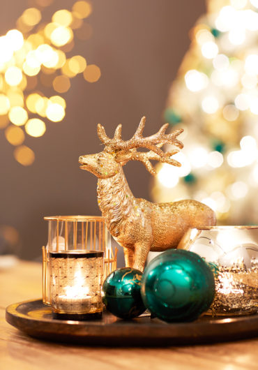 Kerst hert thema goud en groen