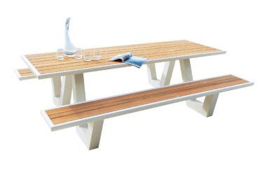 Picnic tafel met teak top en wit frame in alu