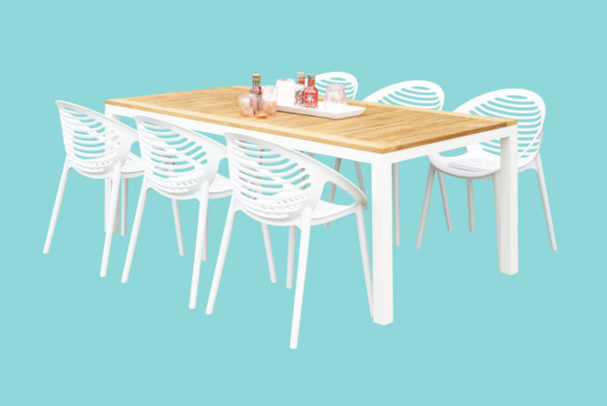 Set tafel Athene 200 + 6 stoelen Coco wit