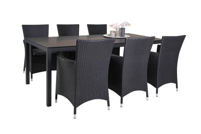 Set tafel Oberon 220 + 6 stoelen Fabio zwart