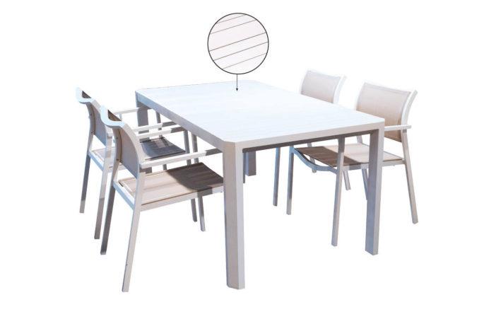 Set tafel Parker 160 x 90 + 4 stoelen Manhattan