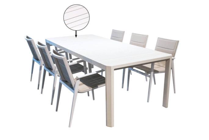 Set tafel Parker 229 x 100 + 6 stoelen Sirius