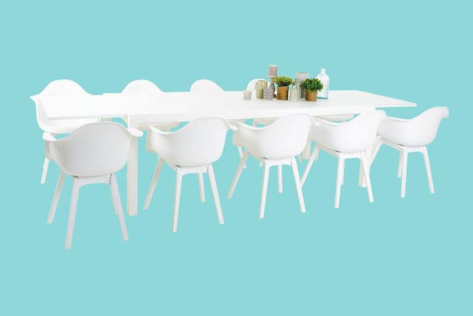 Set Zilton uitschuifbare tafel 220/330 + 10 stoelen Dali wit