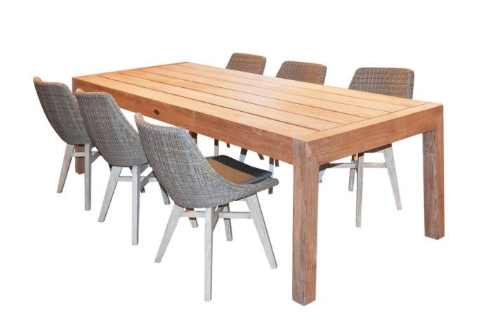 Tafel Mango 240 + 6 stoelen Orbi