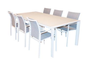 Tafel Mykonos 220 + 6 stoelen Palermo