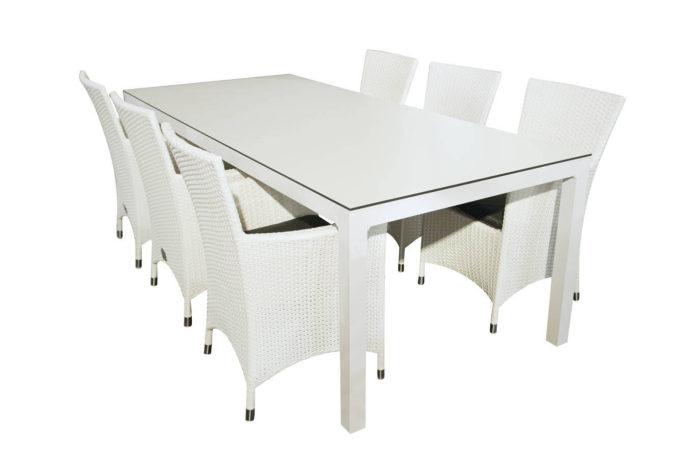 Tafel Oberon 220 + 6 stoelen Fabio wit