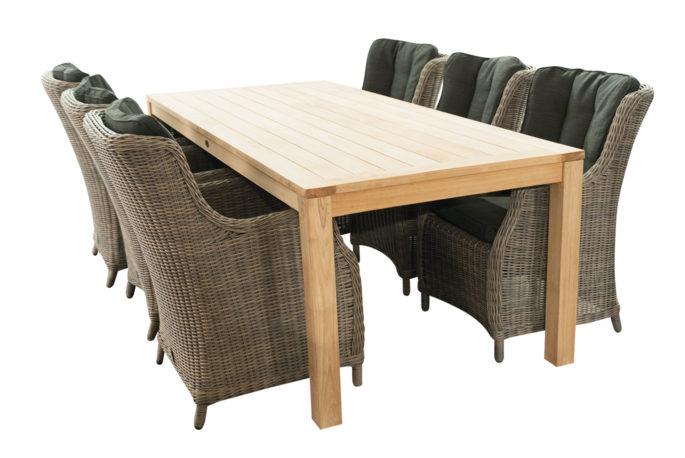 Tafel Papaja 240 + 6 stoelen Ravenna