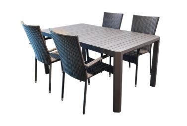 Tafel Parker 160 + 4 stoelen Chippy
