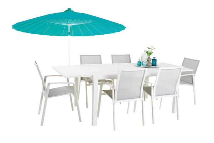 Uitschuifbare tafel Zilton 155/230 + 6 stoelen Porto