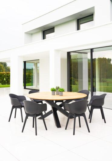SET Xianx tafel Ø175 + 7 stoelen Mona